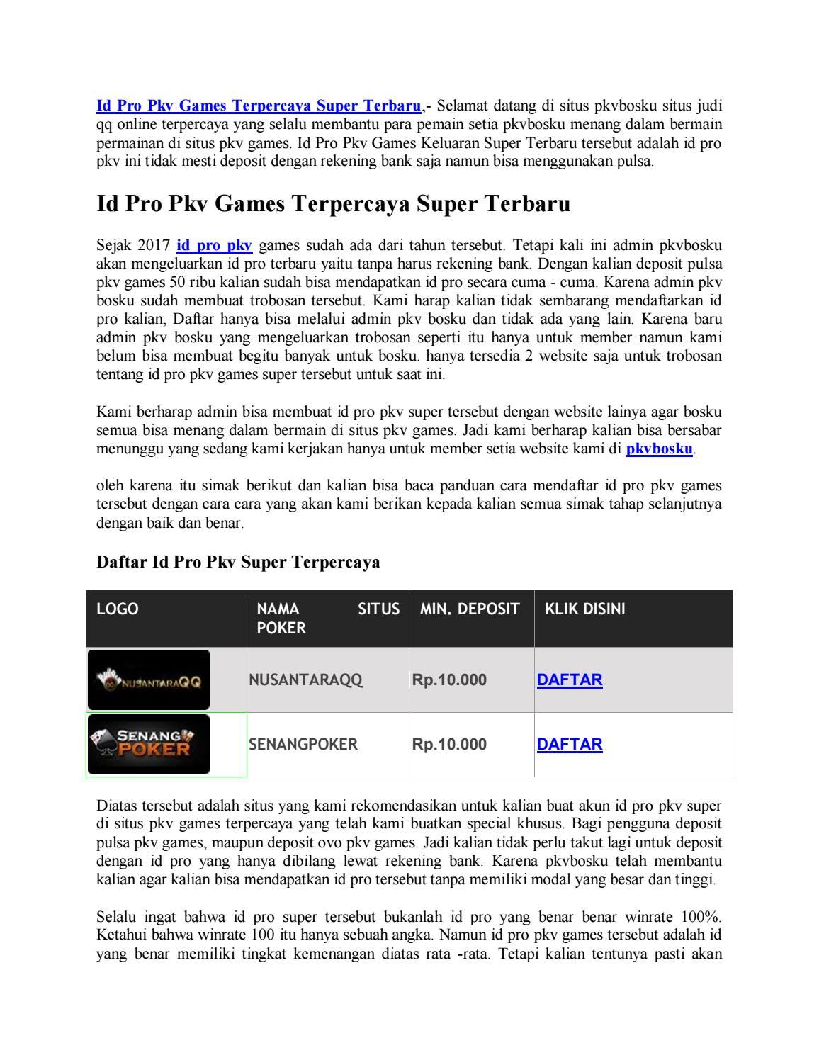 Id Pro Pkv Terpercaya Super Terbaru By Nusantaraqq Issuu