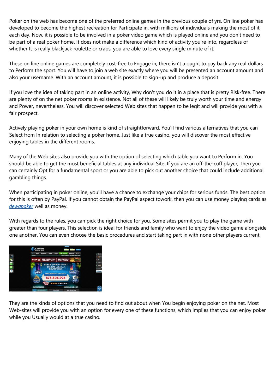 10 Tell Tale Signs You Need To Get A New Dewapoker By Hirinanw6s Issuu
