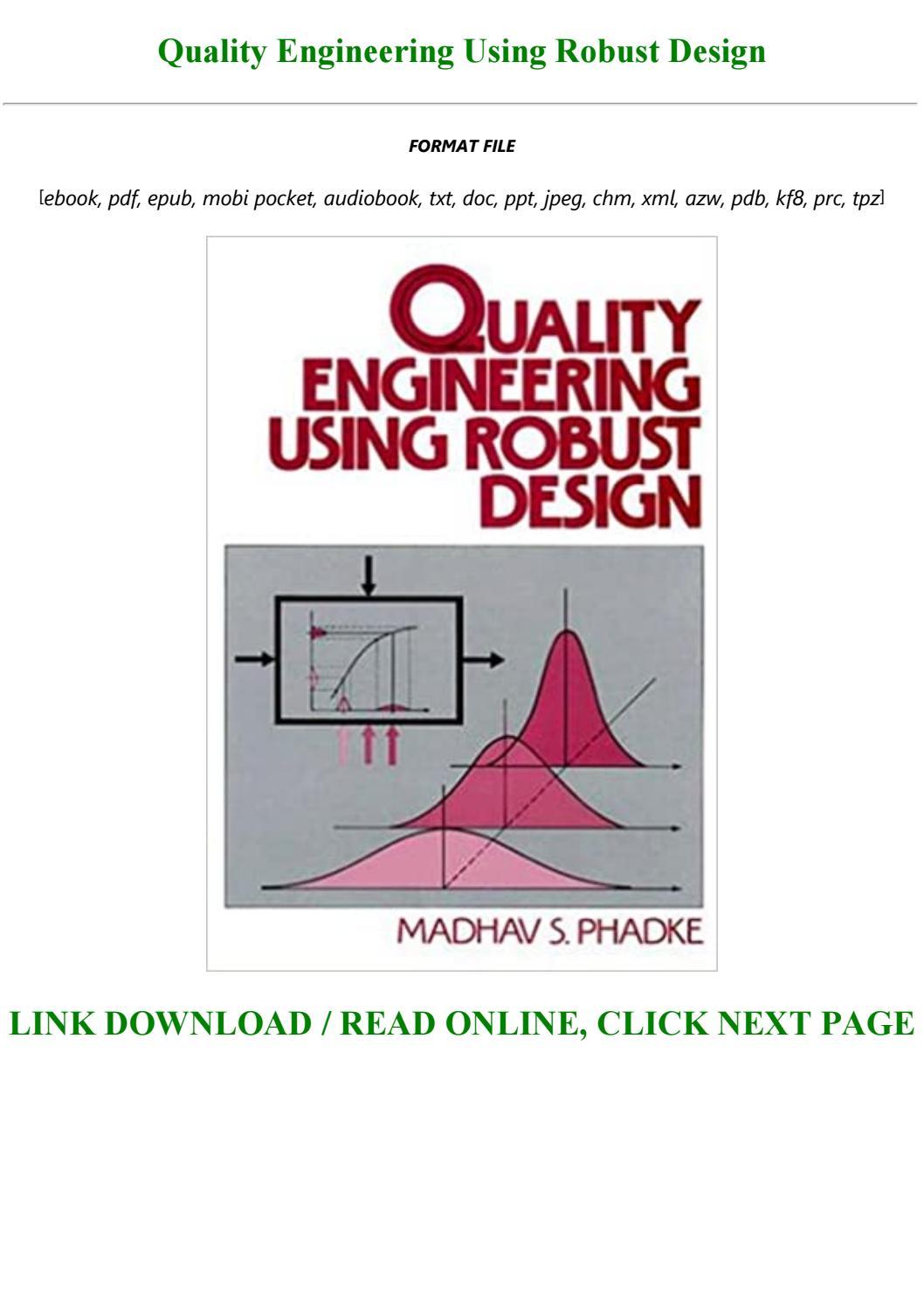 Quality Engineering Using Robust Design By Steveoke213 Issuu