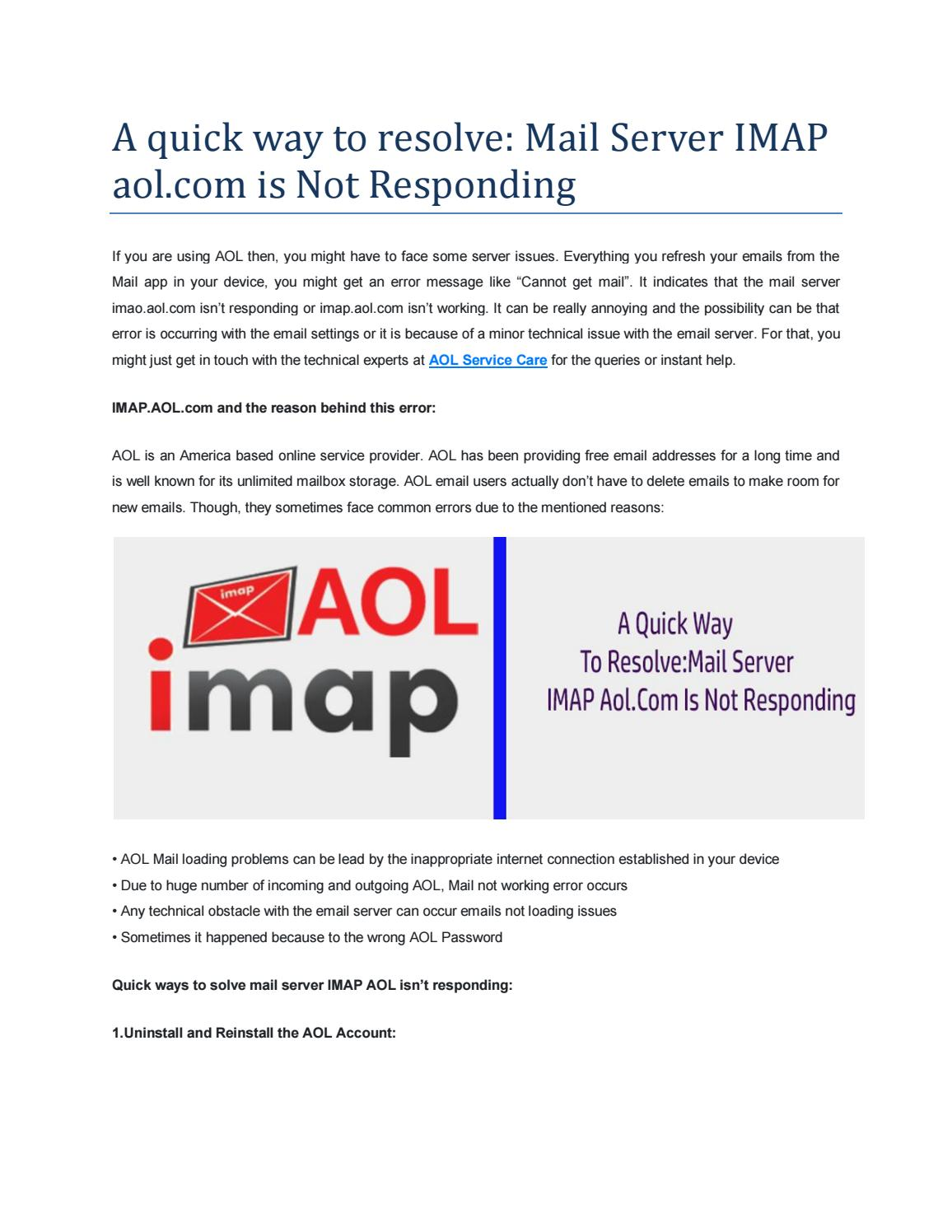 A Quick Way To Resolve Mail Server Imap Aol Com Is Not Responding By Thamosliam Issuu