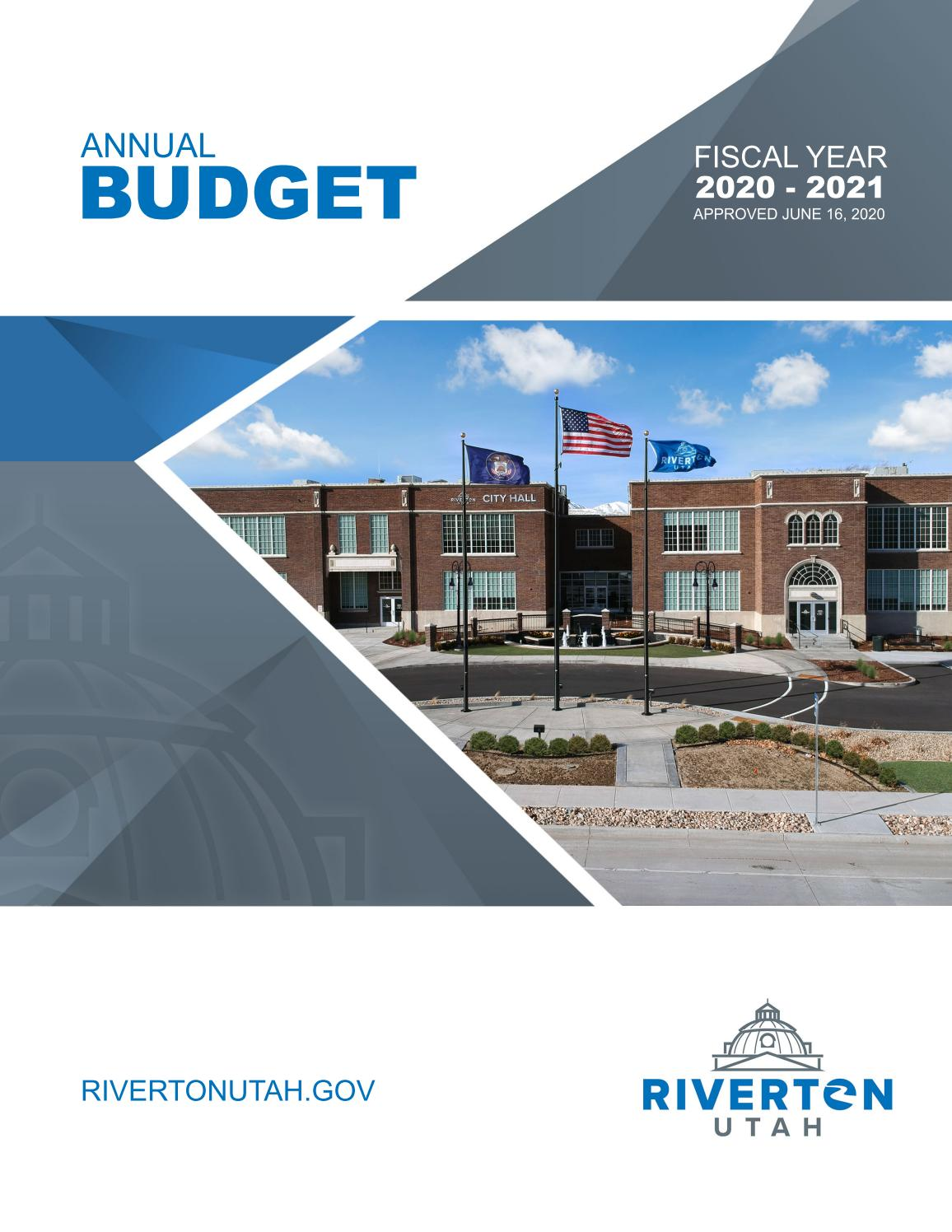 Riverton City Budget Fiscal Year 2020 2021 By Riverton Utah City Government Issuu