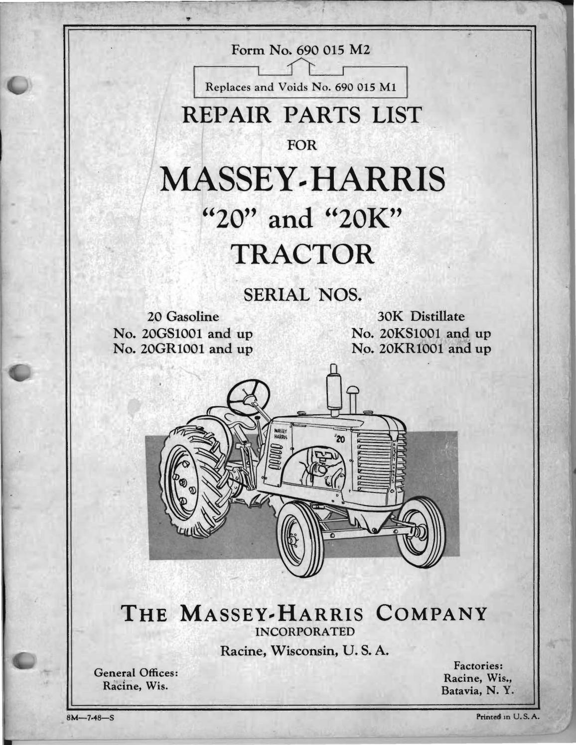 Vintage MH Massey-Harris Tractor Key Chain 2002 NOS Logo Series