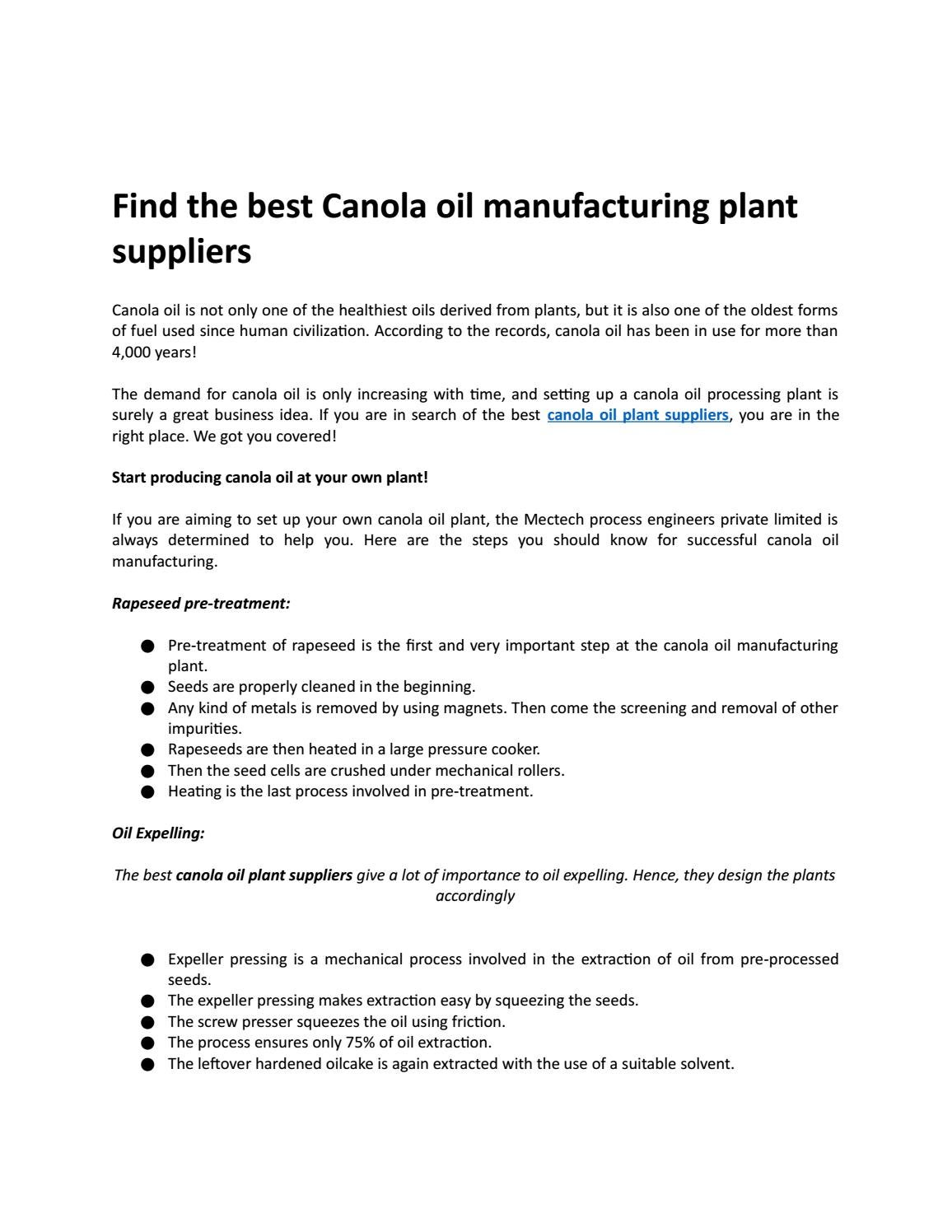 Find The Best Canola Oil Manufacturing Plant Suppliers By Mectech Process Engineers Issuu
