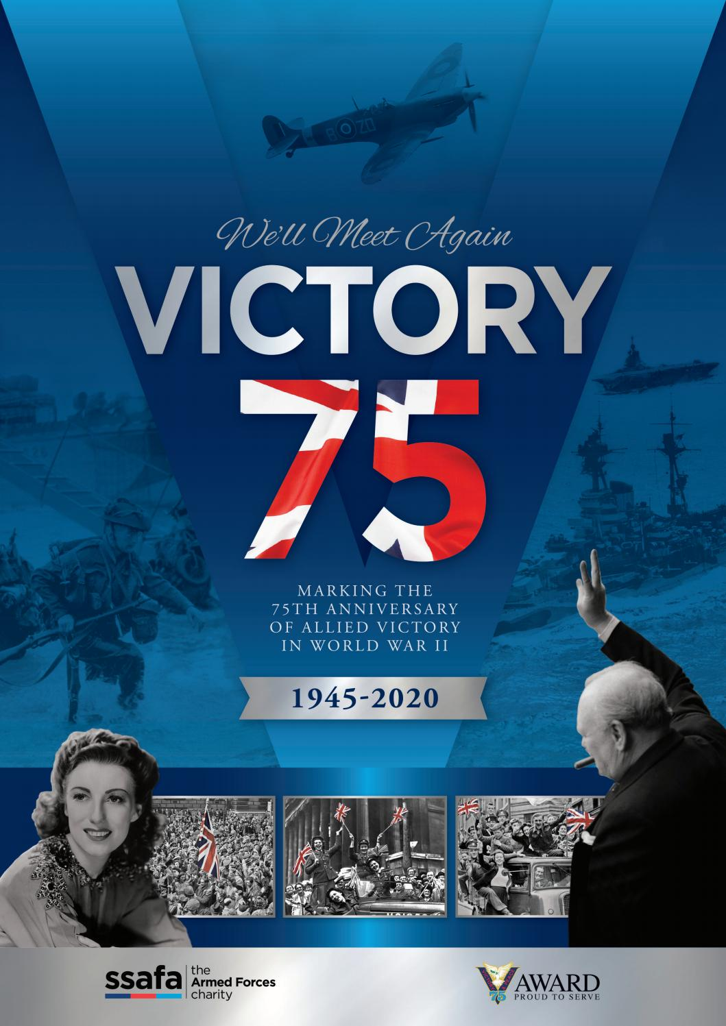 Commemorating 75 years Anniversary D Day end World War 2 1945-2020 RAF Army Navy