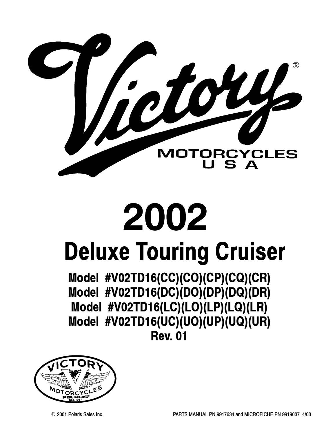 2002 Victory Deluxe Touring Cruiser Motorcycle Parts Manual By Heydownloads Issuu