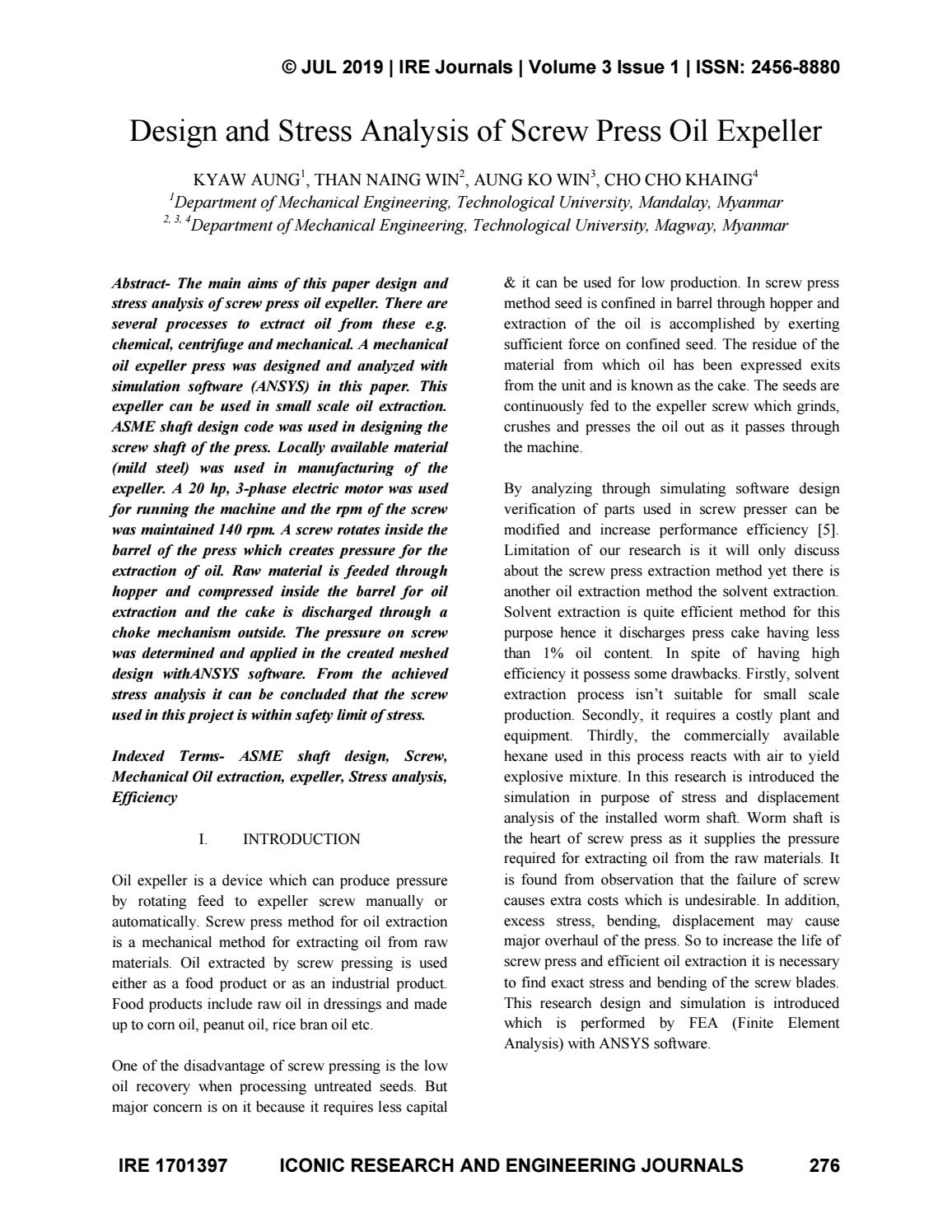 Design And Stress Analysis Of Screw Press Oil Expeller By Iconic Research And Engineering Journal Issuu