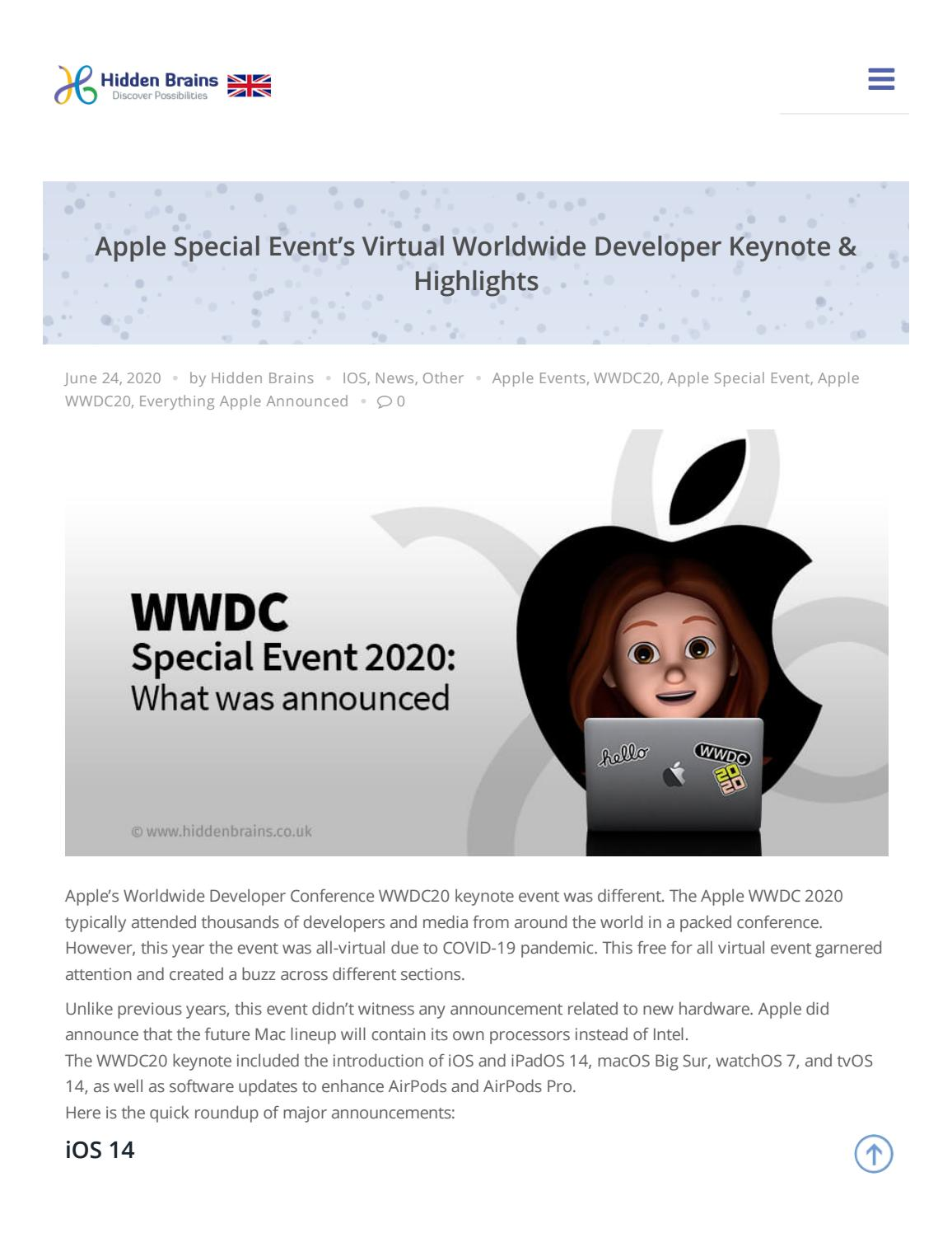 Apple Special Event S Virtual Worldwide Developer Keynote Highlights By Kathleenbrown440 Issuu