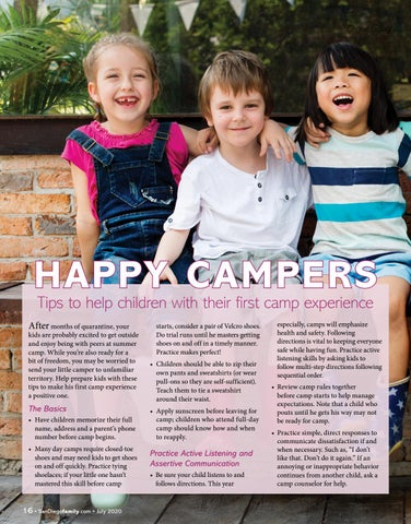 Page 16 of HAPPY CAMPERS – Tips to help children with their first camp experience