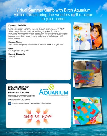 Page 4 of Virtual Summer Camp with Birch Aquarium Virtual camps bring the wonders of the ocean to your home.