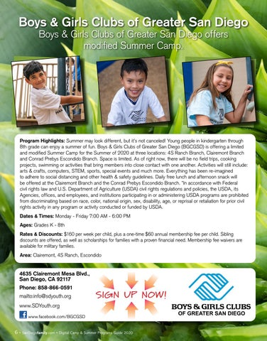 Page 6 of Boys & Girls Clubs of Greater San Diego Boys & Girls Clubs of Greater San Diego offers modified Summer Camp.