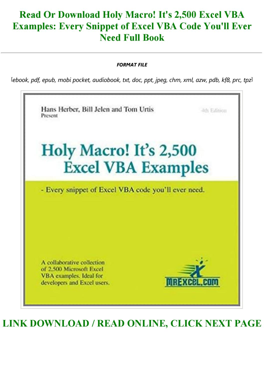 Holy Macro! It's 2,500 Excel VBA Examples: Every Snippet of Excel VBA Code  You'll Ever Need by camronoke213 - issuu