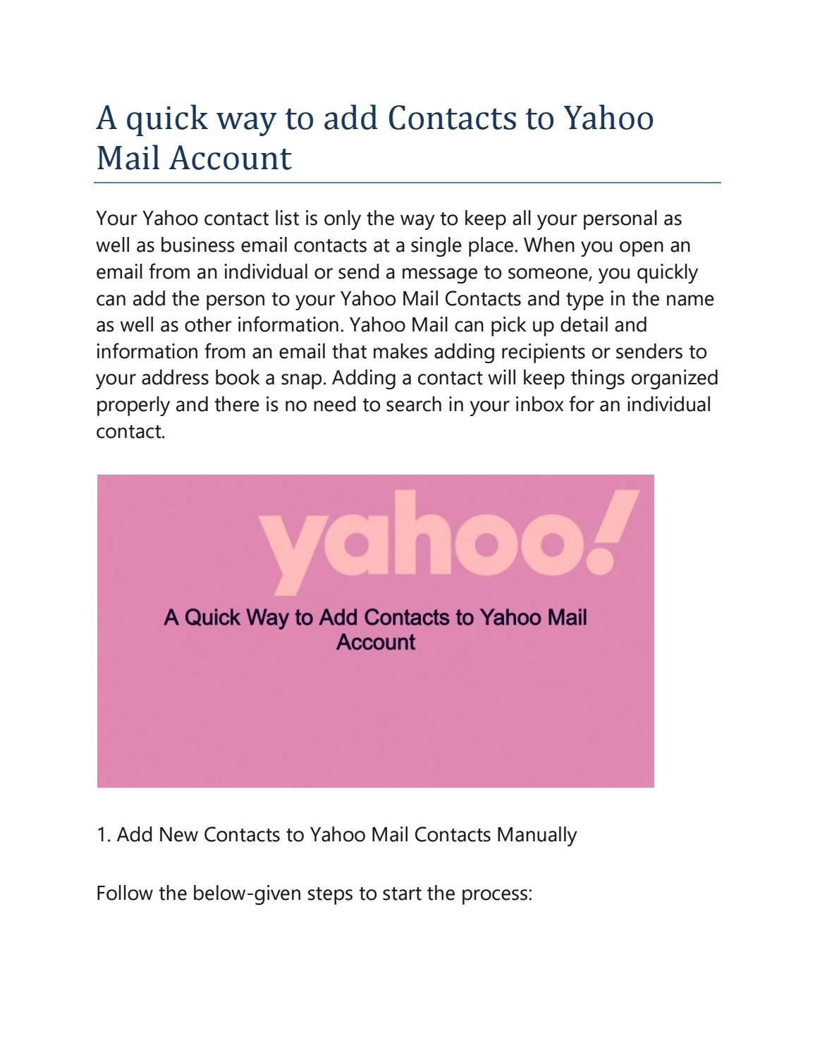 A Quick Way To Add Contacts To Yahoo Mail Account By Thamosliam Issuu