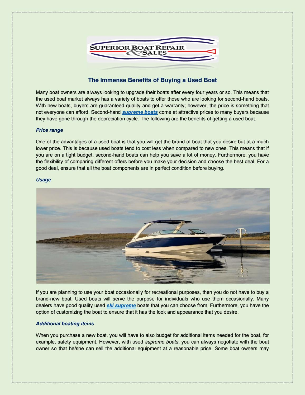 The Immense Benefits Of Buying A Used Boat By James Smith Issuu