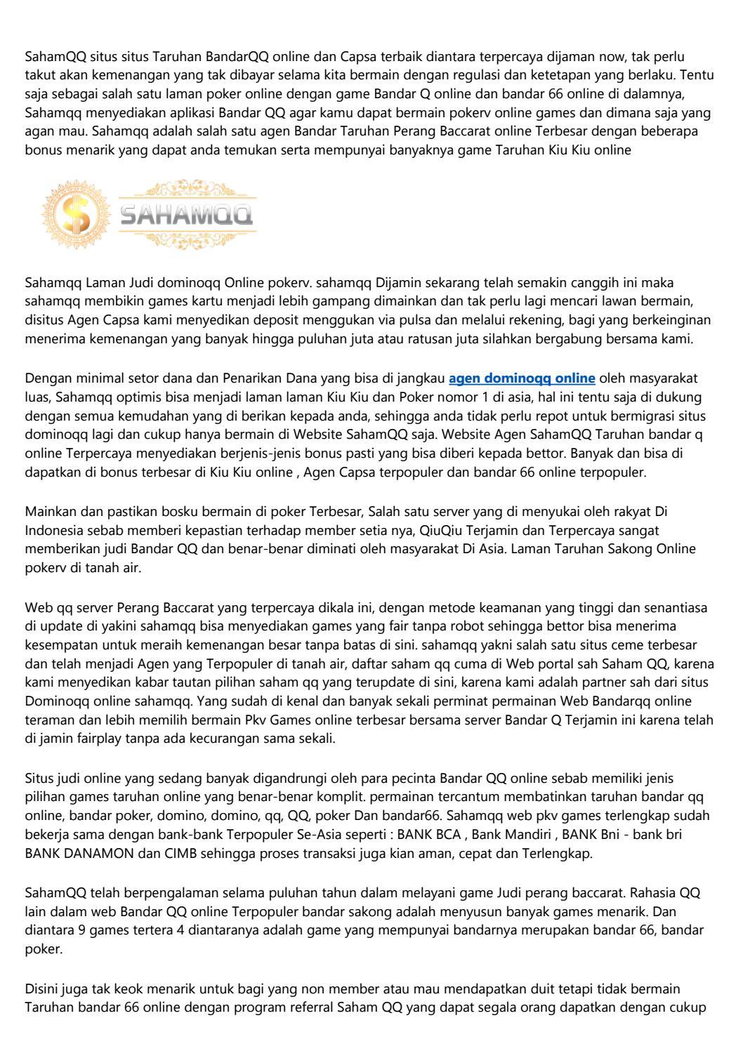 Agen Judi Bandarqq Online Terpercaya Website Domino Qq Terbaik By H1wgxdz776 Issuu