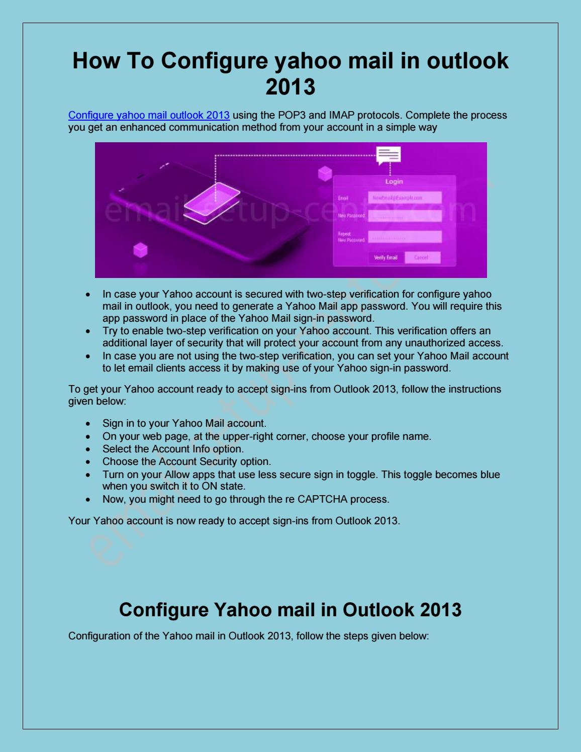 Configure Yahoo Mail In Outlook 2013 by James William - issuu