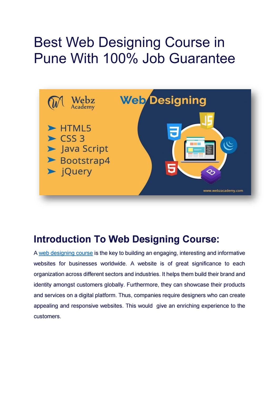 Best Web Designing Course In Pune With 100 Job Guarantee By Nilamshaikh125 Issuu