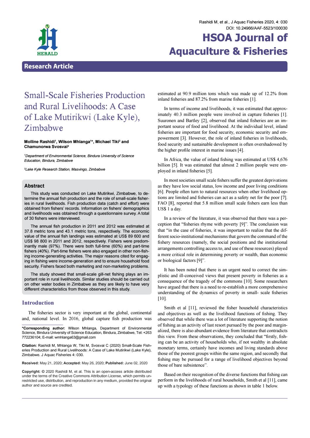 Small Scale Fisheries Production And Rural Livelihoods By Herald Scholarly Open Access Issuu