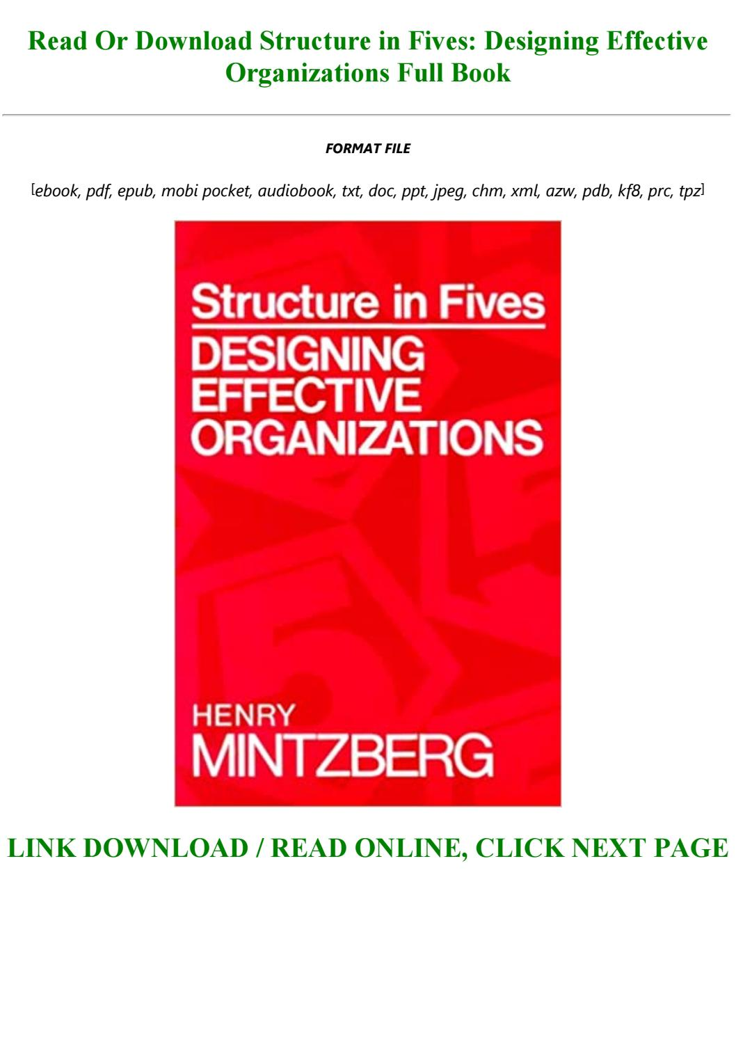 Pdf Download Structure In Fives Designing Effective Organizations Full Pdf By Julienemard1o1 Issuu