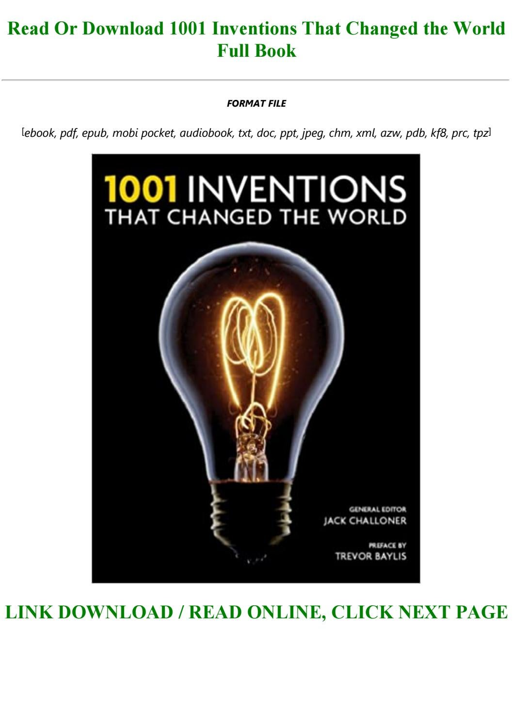 Download E B O O K 1001 Inventions That Changed The World Full Pdf Online By Lonnitzsche1o1 Issuu