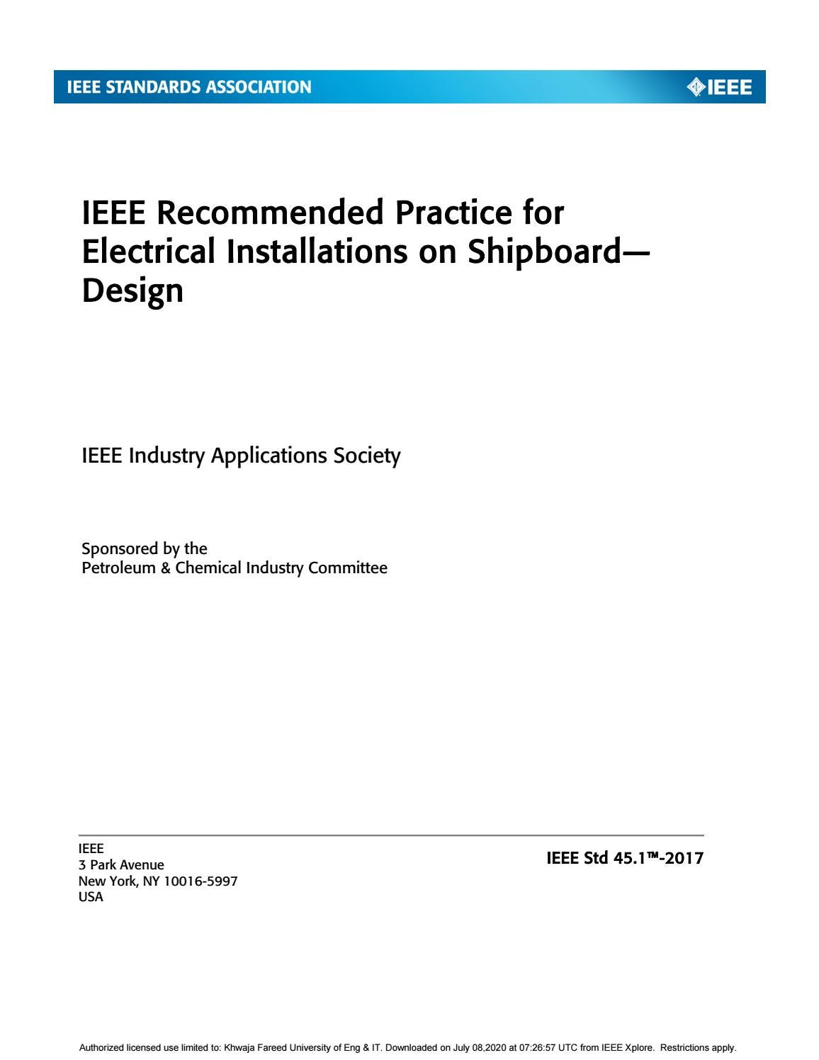 IEEE Recommended Practice for Electrical Installations on ...