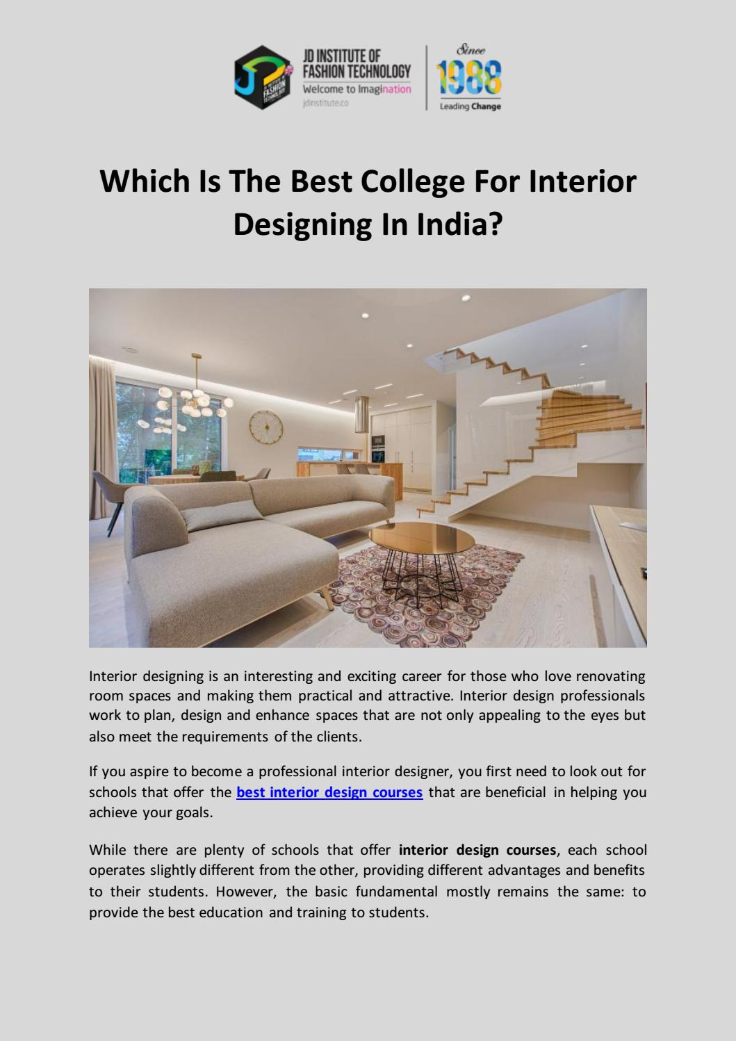 Which Is The Best College For Interior Designing In India By Jd Institute Of Fashion Technology Issuu