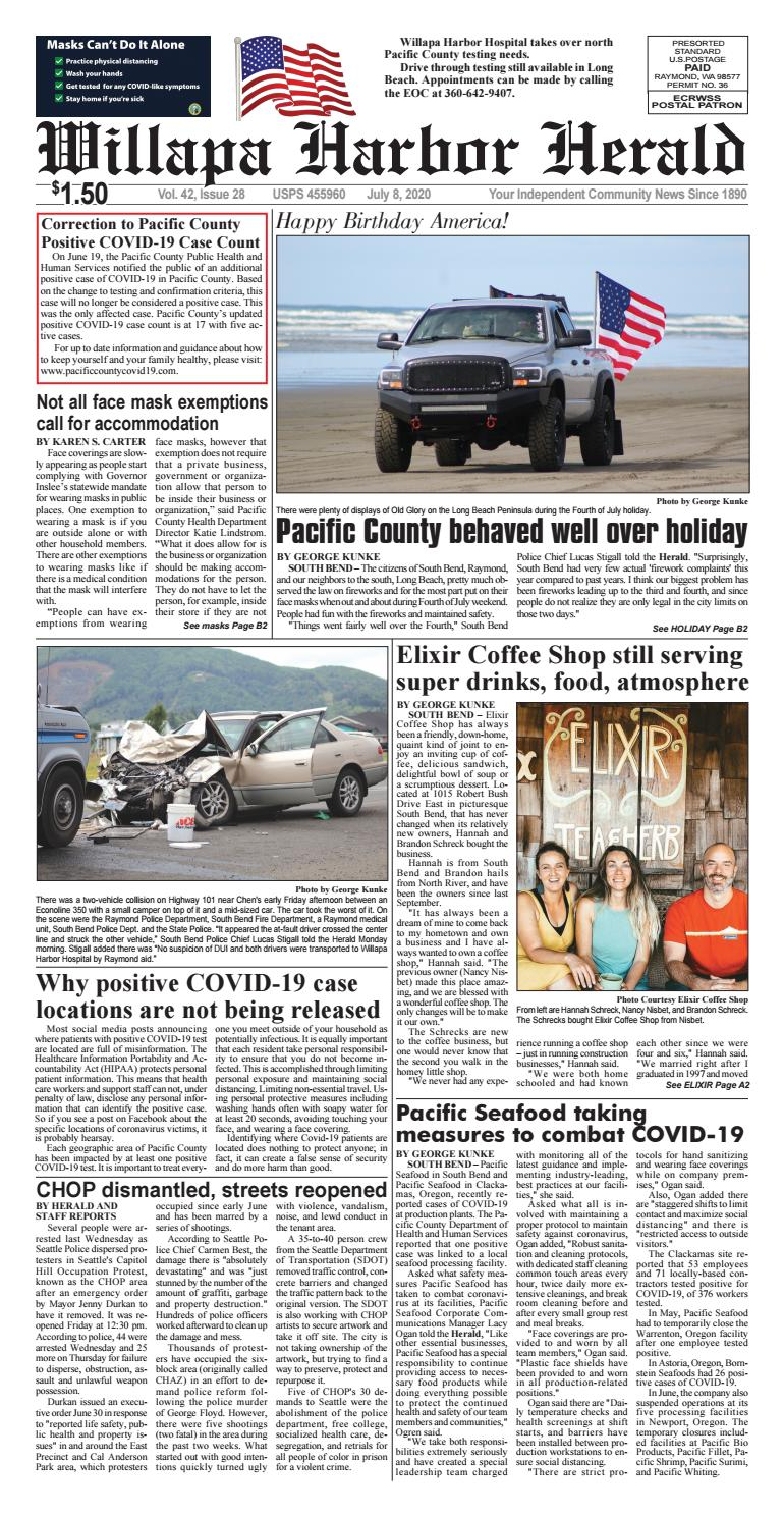 Willapa Harbor Herald And Pacific County Press July 8 2020 By Flannerypubs Issuu The best way to prevent novel coronavirus transmission is washing your hands with soap and water. willapa harbor herald and pacific