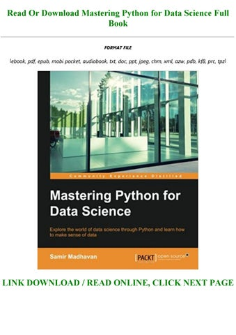 mastering python for data science pdf free download