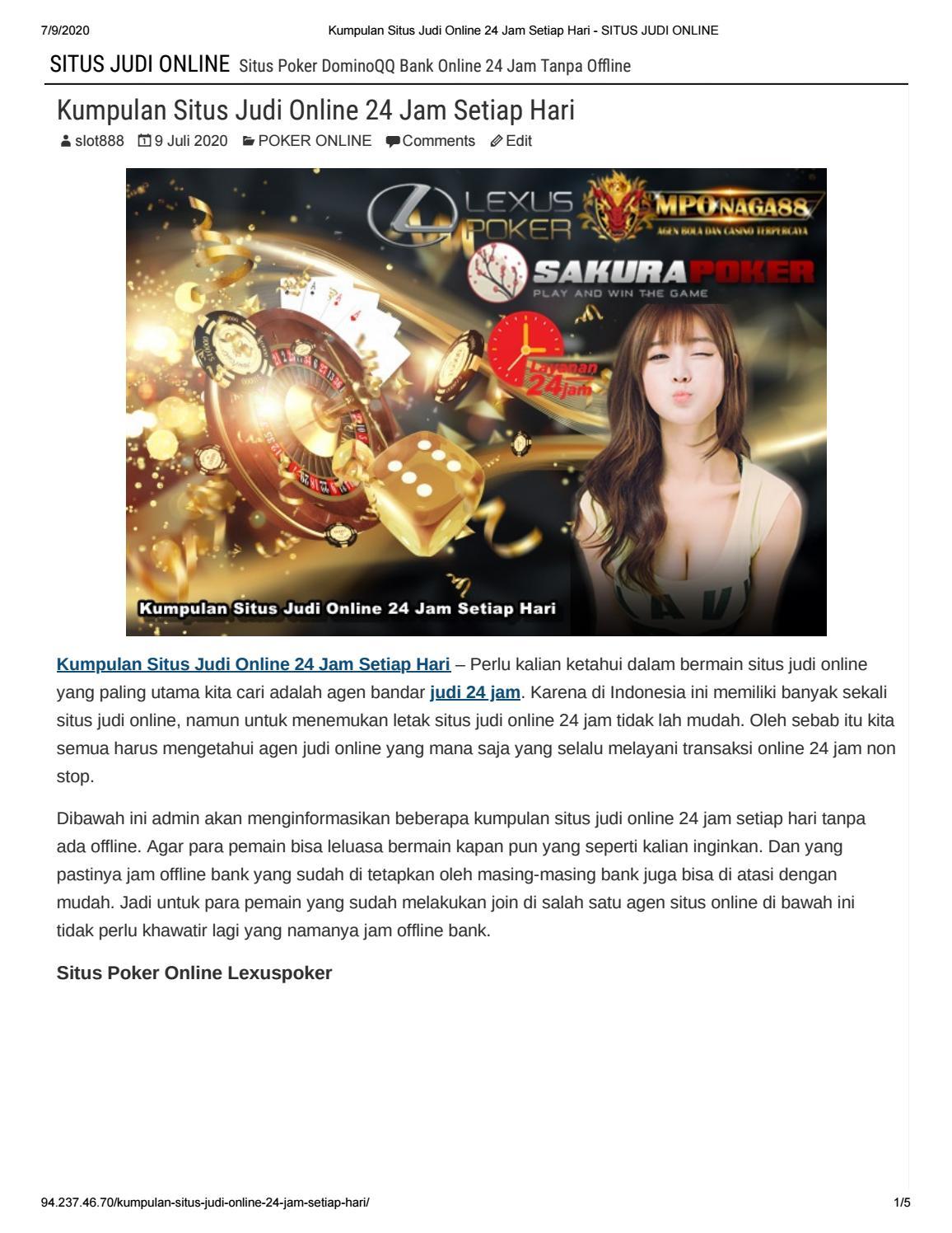 Mponaga88 Kumpulan Situs Judi Online 24 Jam Setiap Hari By Sakurapoker Issuu
