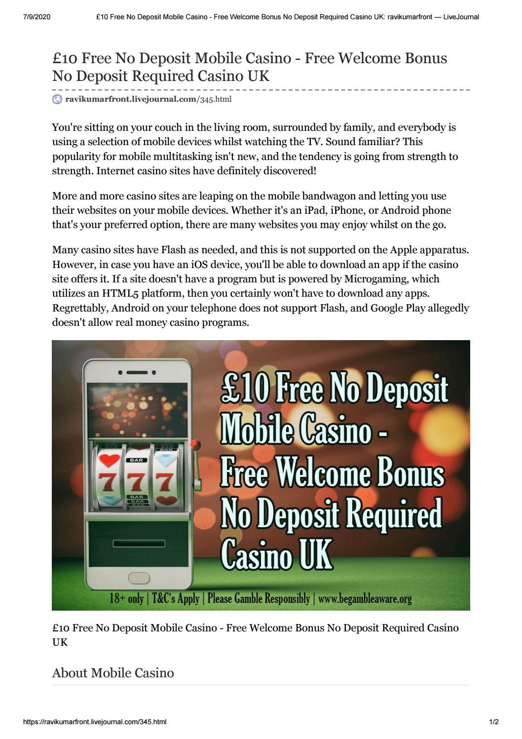 10 Free No Deposit Mobile Casino Free Welcome Bonus No Deposit Required Casino Uk By All Casino Site Issuu