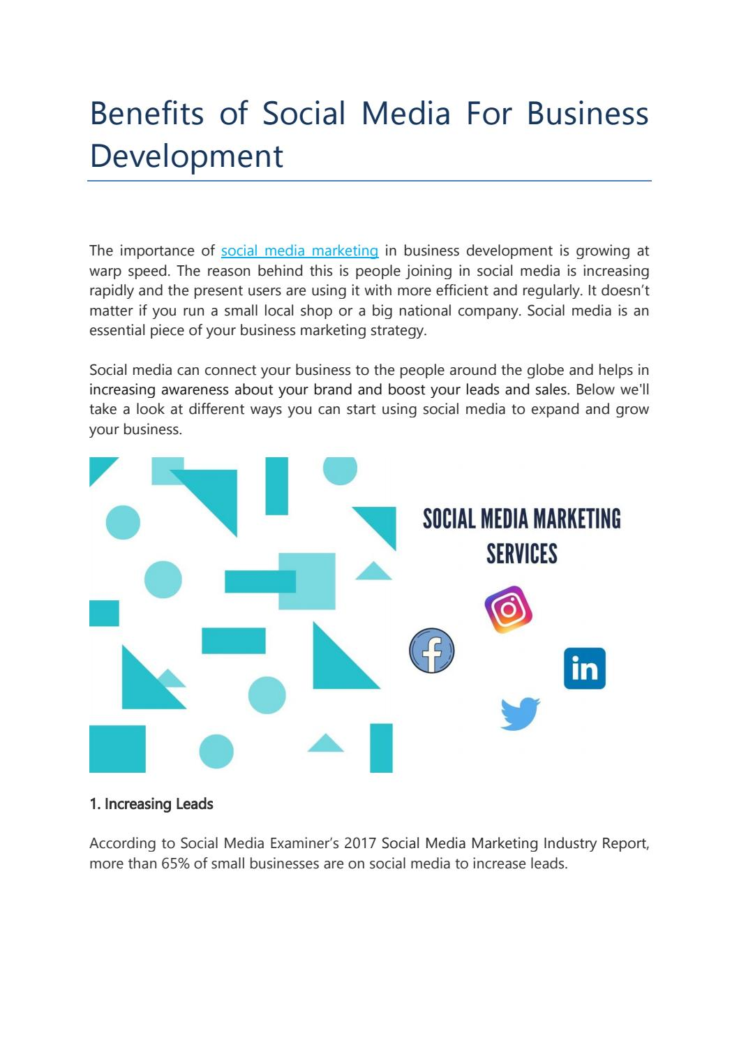 Benefits of social media marketing for business development by ...