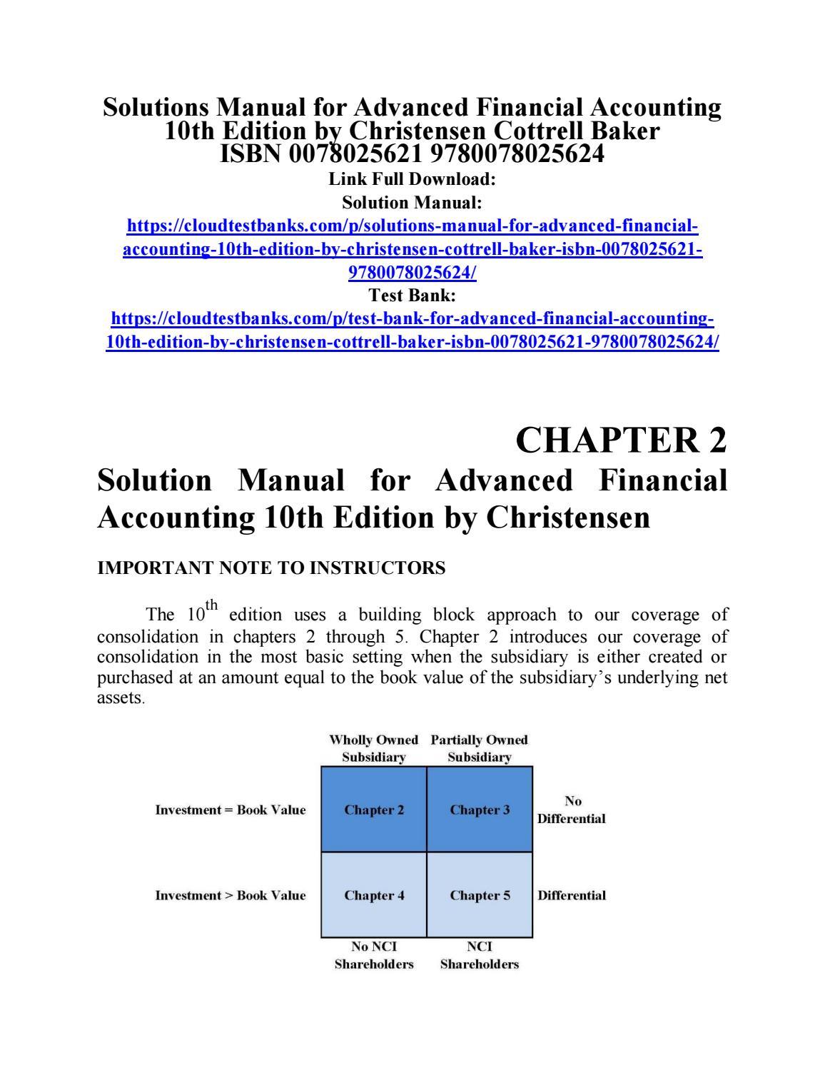 Solution Manual Advanced Financial Accounting 10th Edition By Christensen 9780078025624 By Shywe Issuu