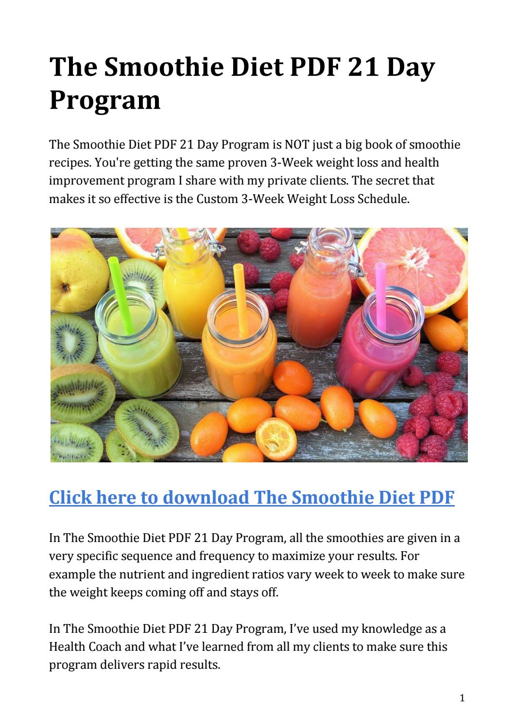 The Smoothie Diet Pdf 21 Day Program Download By Massimo Sereni Issuu