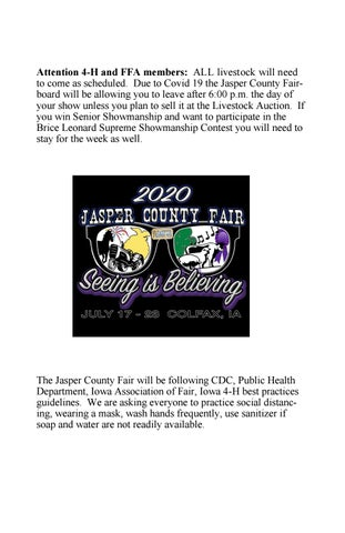 Jasper County Fair 2020 Fairbook By Edje Issuu