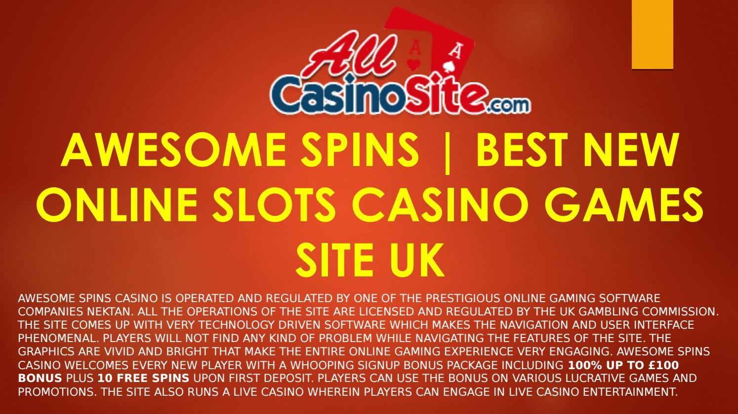 Awesome Spins Best New Online Slots Casino Games Site Uk By