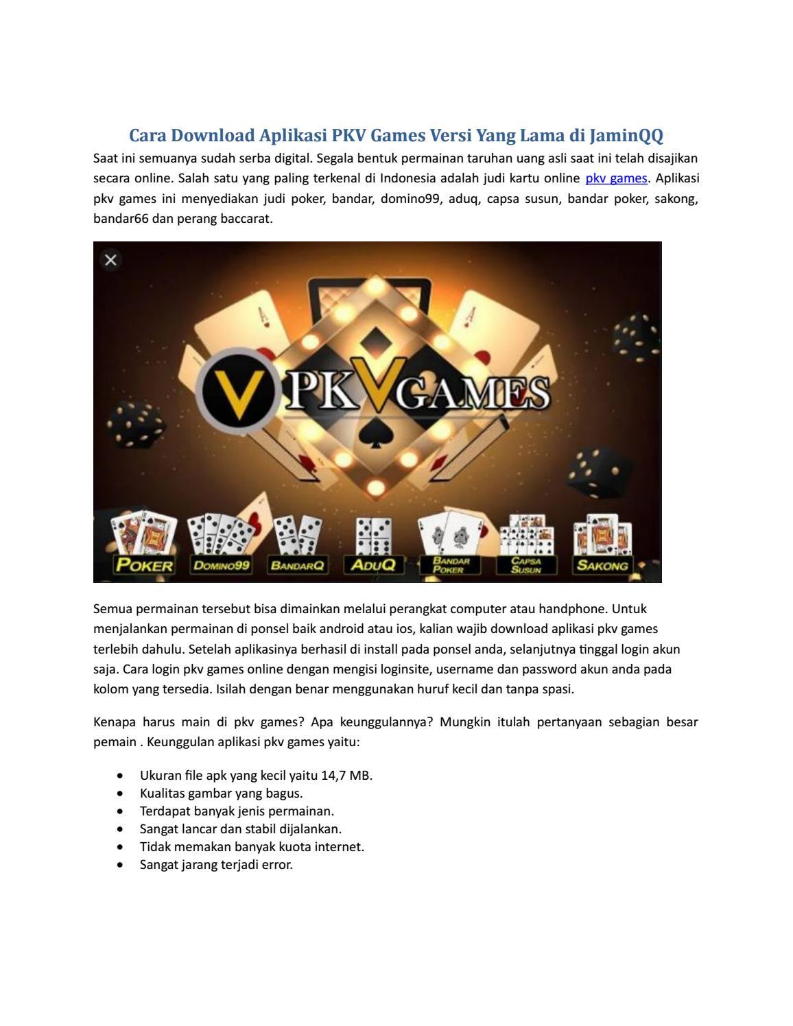 Cara Download Aplikasi Pkv Games Versi Lama By Phuc An Issuu