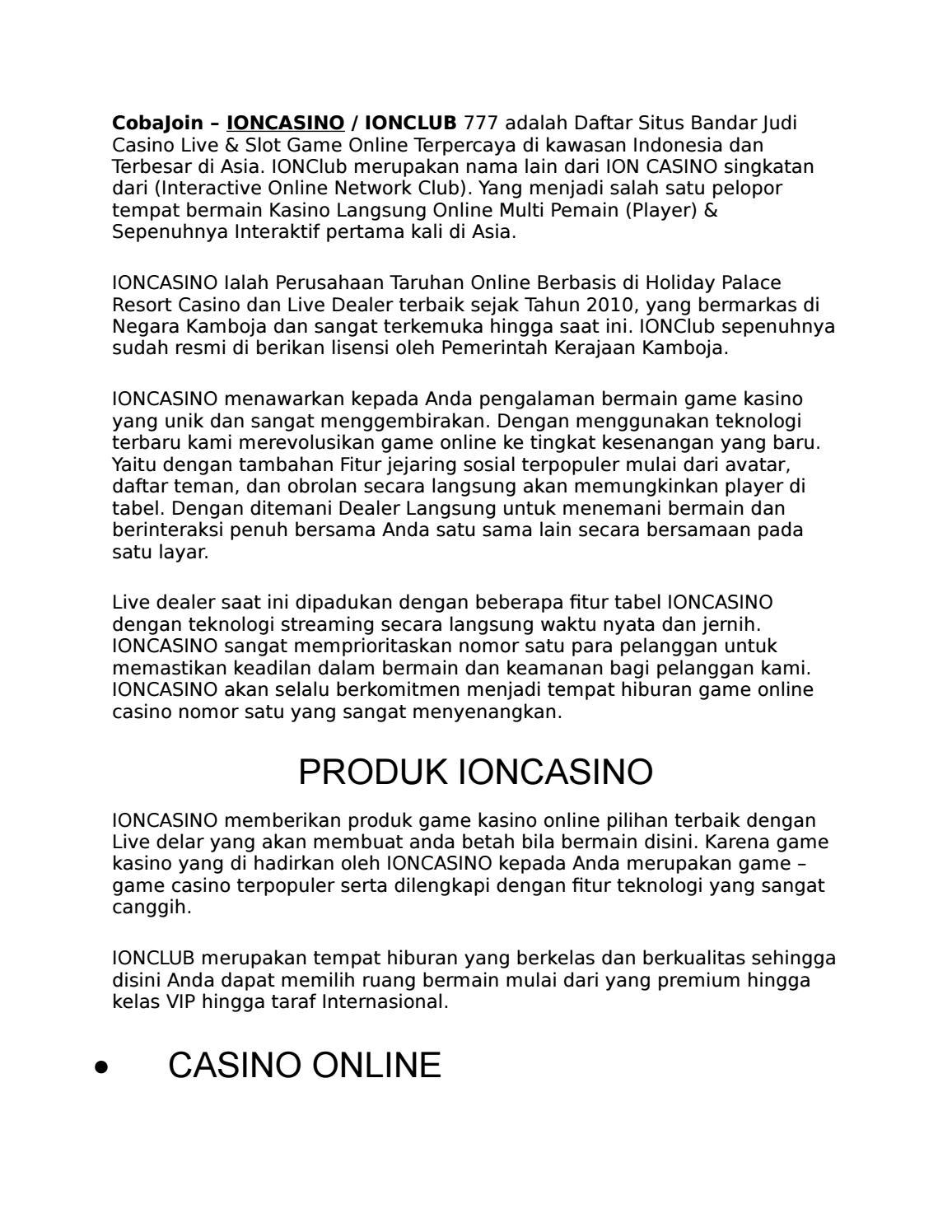 Ion Casino Cobajoin By Viona188 Issuu