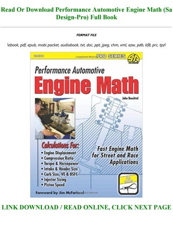 Pdf Epubpdf Download Performance Automotive Engine Math Sa Design Pro Pre Order By Derekoke213 Issuu