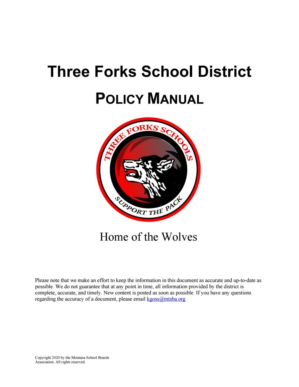 Three Forks Public Schools Policy Manual By Montana School Boards Association Issuu