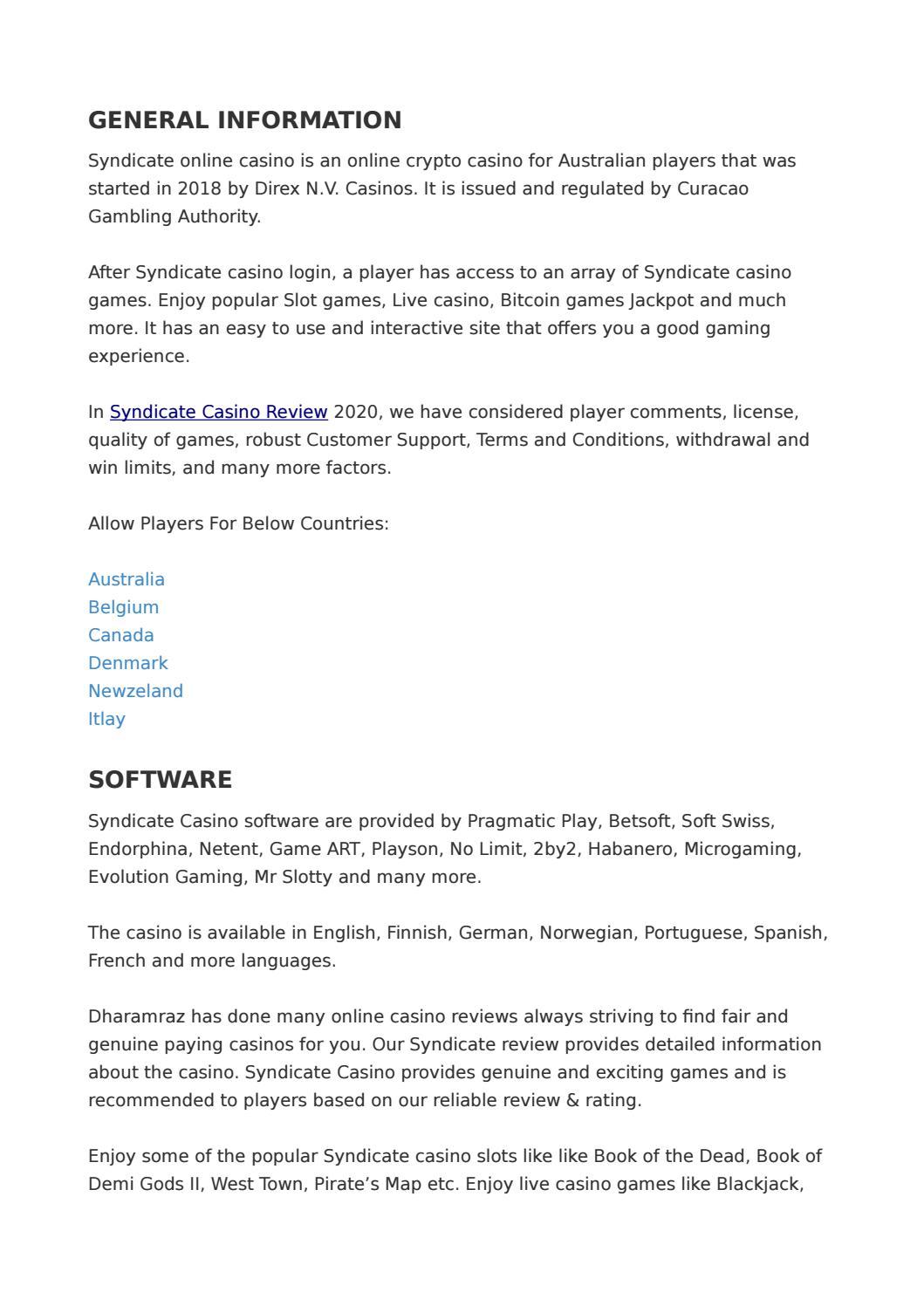 Syndicate Casino Review 2020 Mobile Casino Bonus Dharamraz By Freya 23 Issuu
