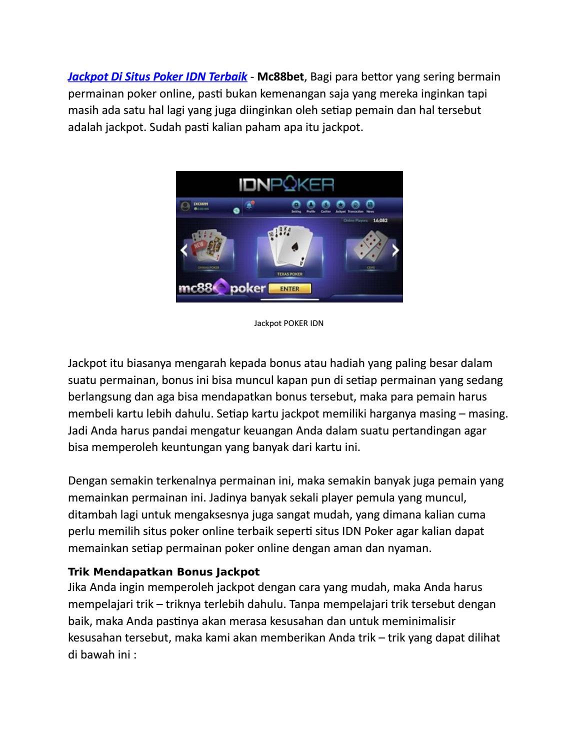 Cara Ampuh Memenagkan Jackpot Di Situs Poker Idn Terbaik By Emailbarumc88 Issuu
