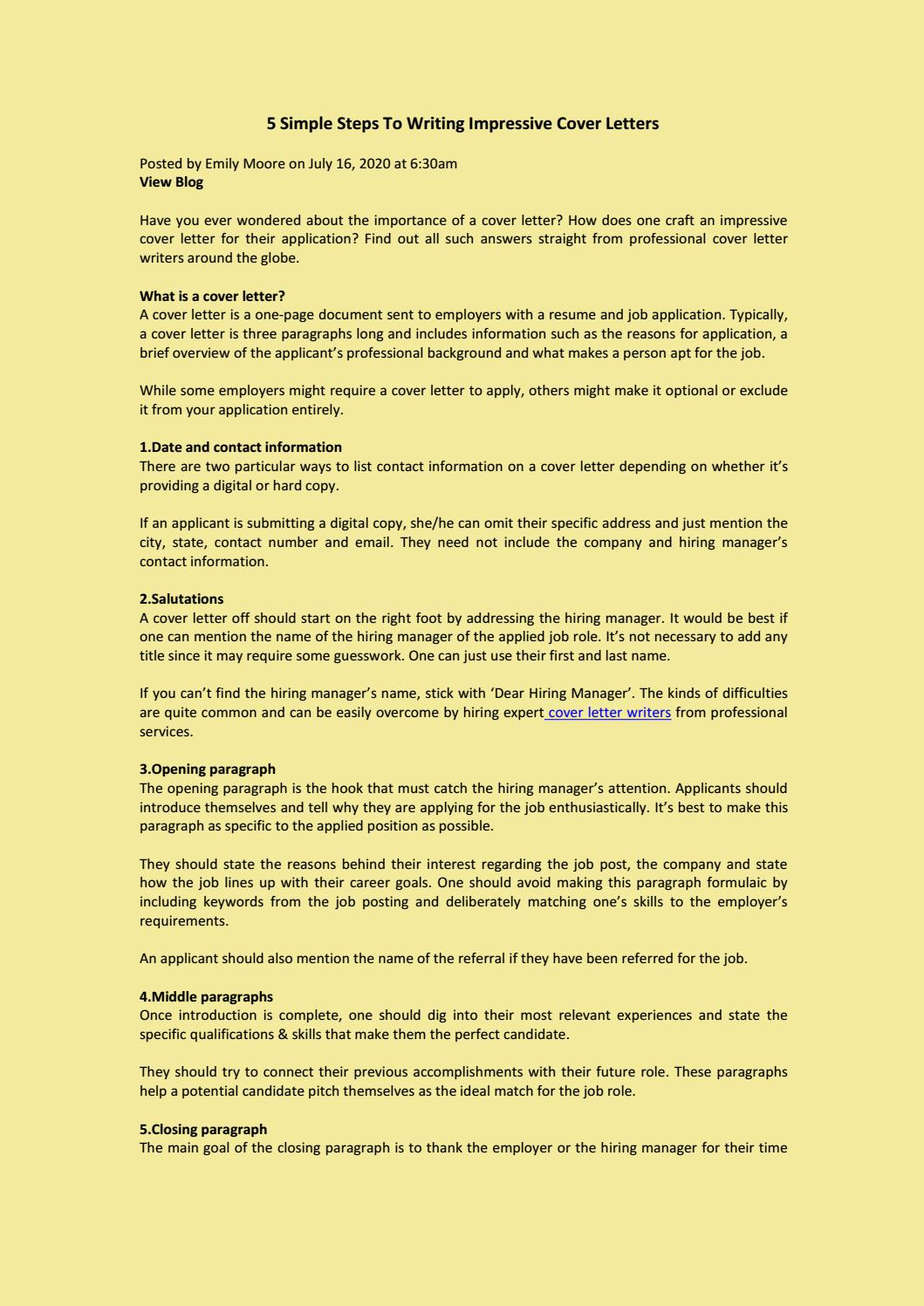 5 Simple Steps To Writing Impressive Cover Letters By Emily Moore Issuu