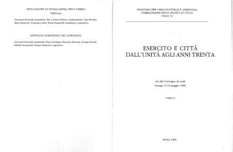 Esercito E Citta Dall Unita Agli Anni Trenta Tomo Ii By Biblioteca Militare Issuu