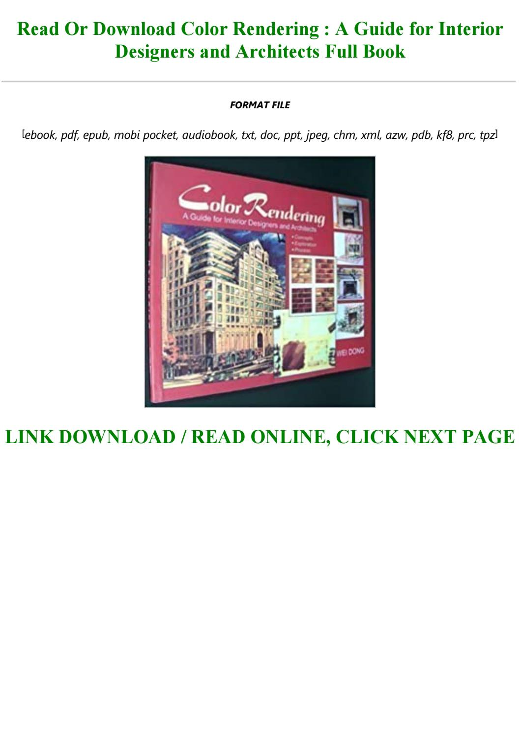 Best Pdf Color Rendering A Guide For Interior Designers And Architects Full By Madeleine123287 Issuu
