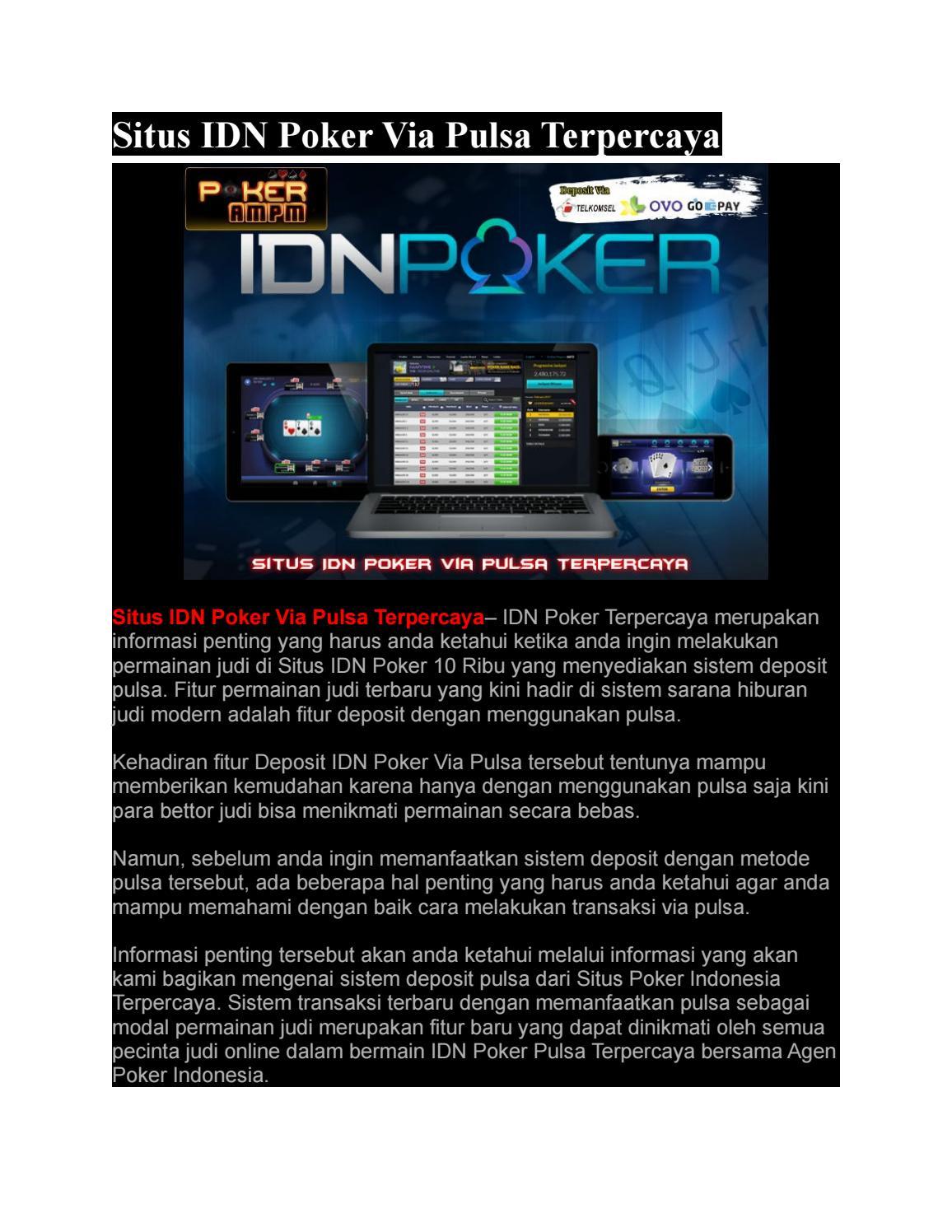 Situs Idn Poker Via Pulsa Terpercaya Pokerampm By Pokerampmm Issuu