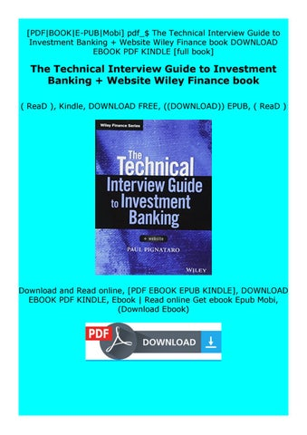 Investment banking interview guide download foreign investment negative list philippines 2021 q1