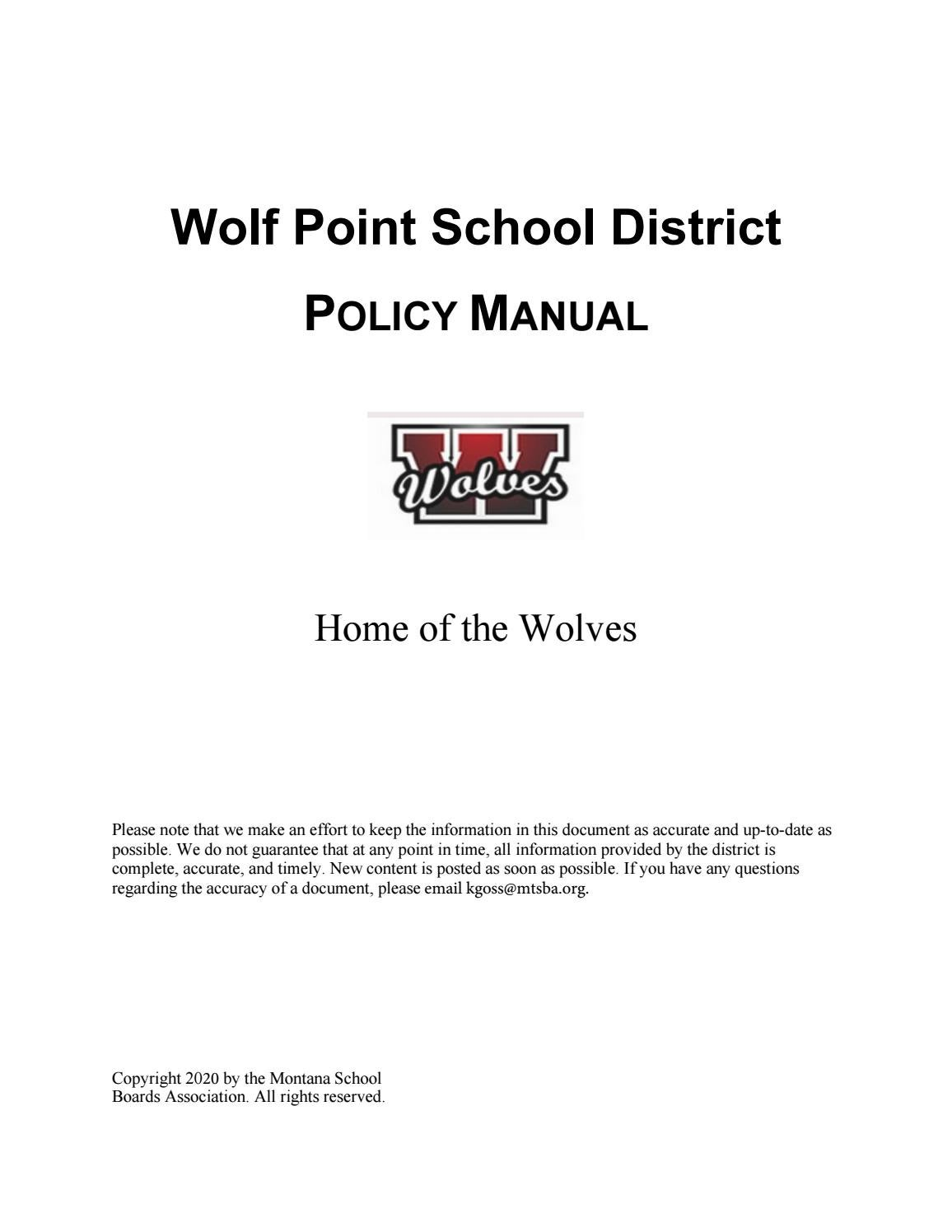 Wolf Point Public Schools Policy Manual By Montana School Boards Association Issuu