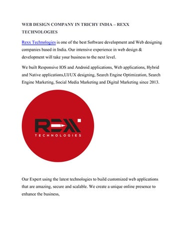 Web Design Company In Trichy Rexx Technologies By Rexx Technologies Issuu