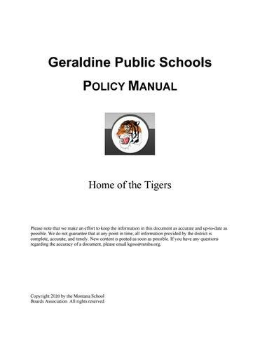Geraldine Public Schools Policy Manual By Montana School Boards