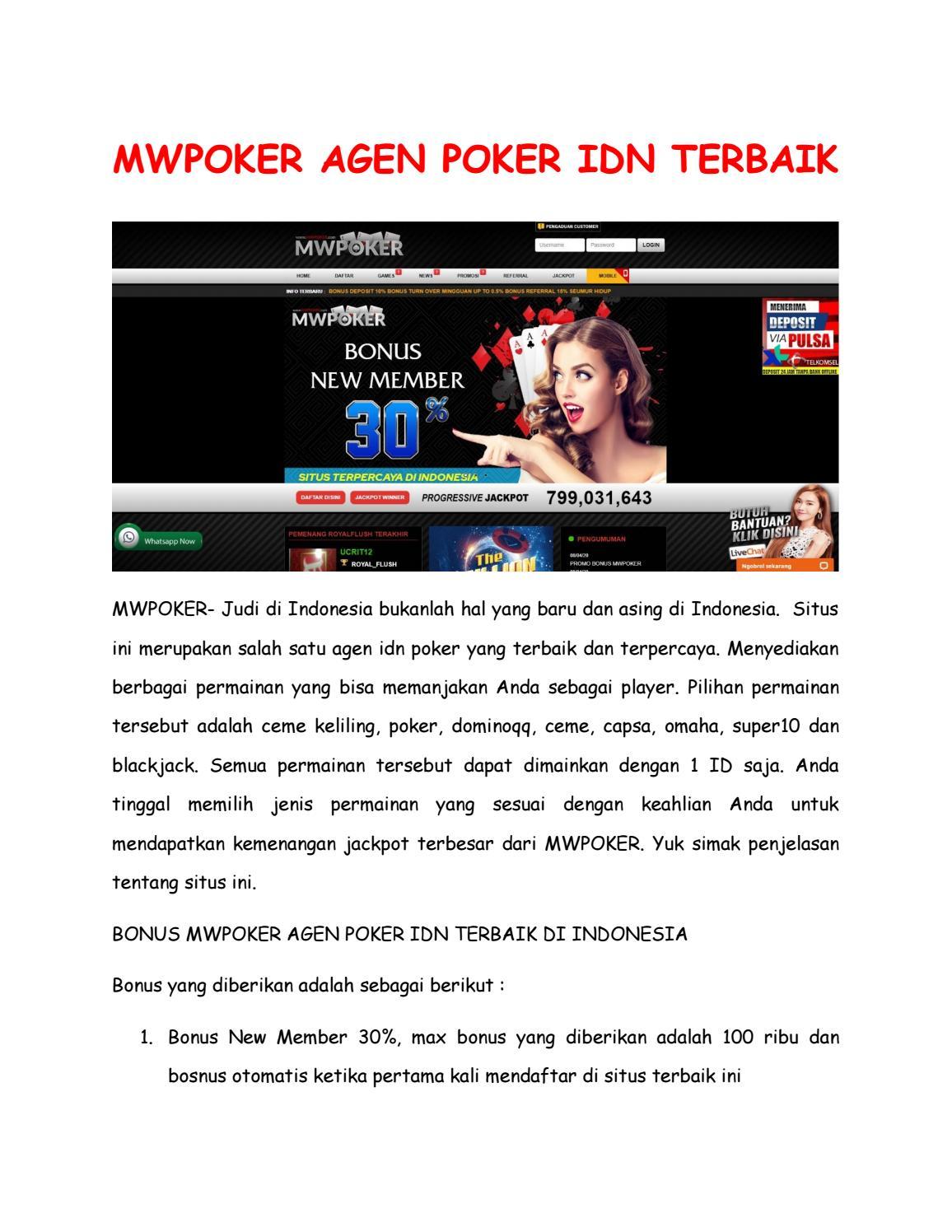 Mwpoker Agen Poker Idn Terbaik By Gilapoker Issuu