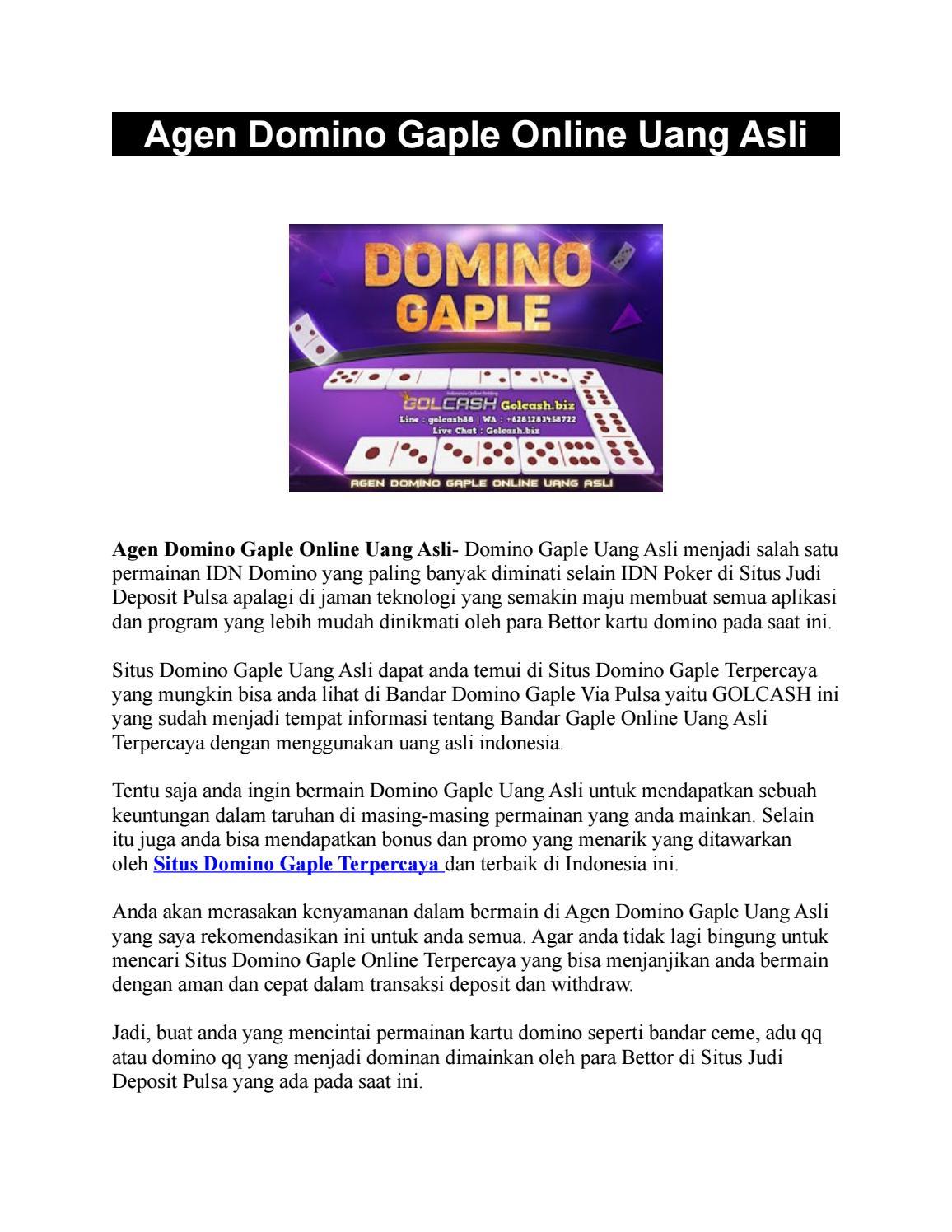 Golcash Agen Domino Gaple Online Uang Asli By Golcash Issuu